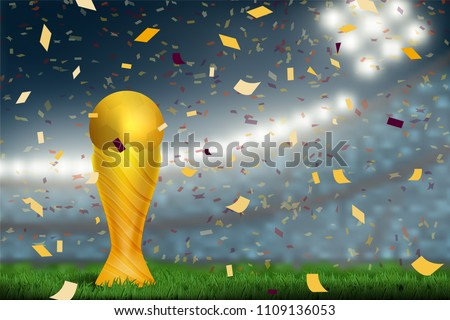 soccer trophy cup on field in soccer stadium to celebrate for football match result with spot light background. Design for banner, poster of nation championship template in vector illustration