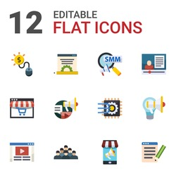 12 social flat icons set isolated on white background. Icons set with Pay per click, Blog management, Social Marketing, Distance Learning, Social campaign, eCommerce marketing icons.
