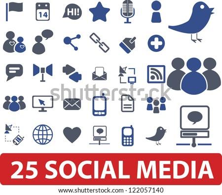 25 social media icons set, vector