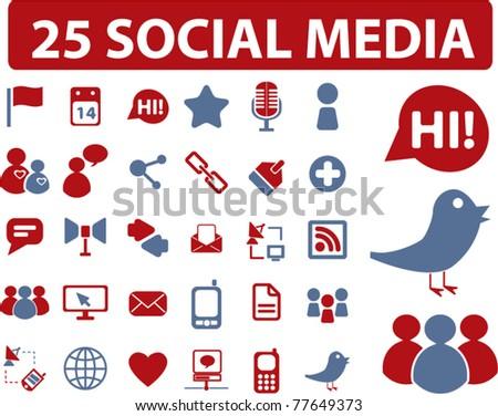 25 social media icons, signs