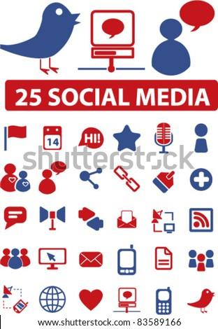 25 social media icons, signs, vector illustration set