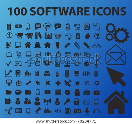 100 software icons, signs, vector illustrations