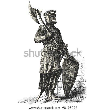 "Soldier Armor during the first Crusades era - vintage engraved illustration - ""Dictionnaire encyclop�©dique universel illustr�©"" By Jules Trousset - 1891 Paris"