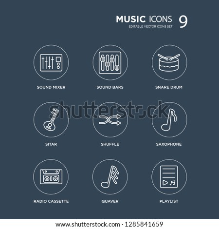 9 Sound mixer, bars, Radio cassette, Saxophone, Shuffle, Snare drum, Sitar, Quaver modern icons on black background, vector illustration, eps10, trendy icon set.