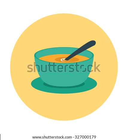 Soup Bowl Colored Vector Icon
