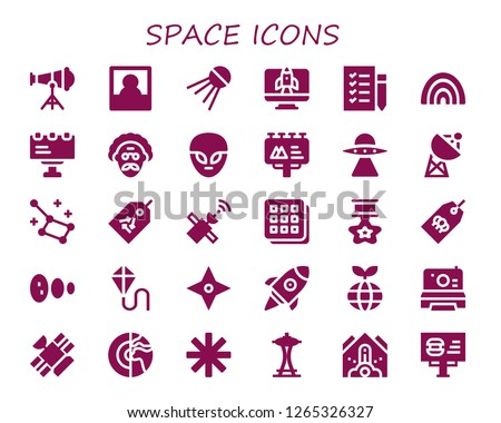 space icon set. 30 filled space icons. Simple modern icons about  - Telescope, Polaroid, Sputnik, Startup, Shopping list, Rainbow, Billboard, Scientist, Alien, Aliens, Satellite