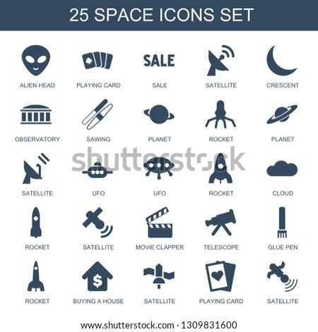 25 space icons. Trendy space icons white background. Included filled icons such as alien head, playing card, sale, satellite, crescent, observatory. space icon for web and mobile.