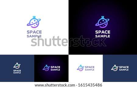 """""""Space Sample"""" is beautiful executed logo,  which look like a planet and the same time has a shape of flask with a planet aura like Saturn.  This logo could be used for organizations related to space"""