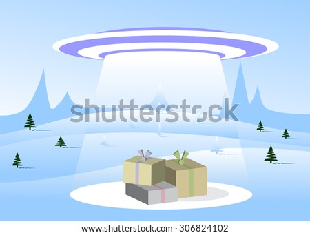 spaceship and boxes with gifts