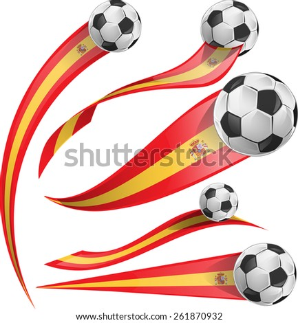 spain flag set with soccer ball