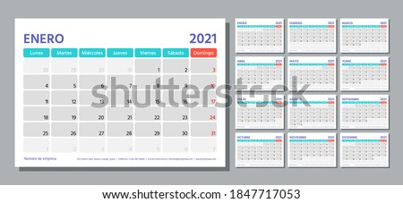 2021 Spanish planner. Calendar template. Week starts Monday. Vector. Calender layout with 12 month. Table schedule grid. Yearly stationery organizer. Horizontal monthly diary. Simple illustration