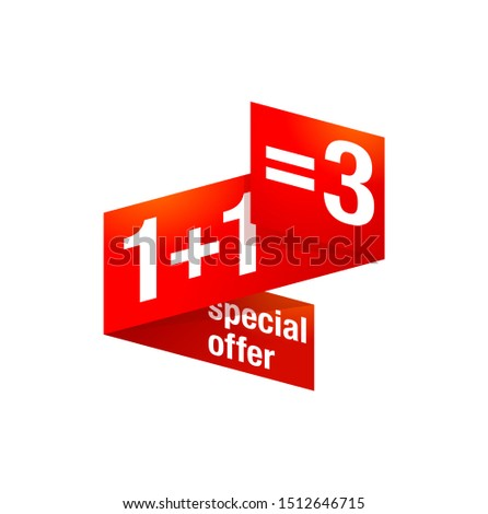 1+1=3 special offer banner element in creative ribbon decoration - sticker for seasonal sales and bonus program - isolated vector button