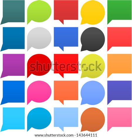 25 speech bubble sign web icon. Circle, square, ellipse empty buttons popular color shapes on white background. Newest contemporary simple style. Vector illustration internet design element 8 eps