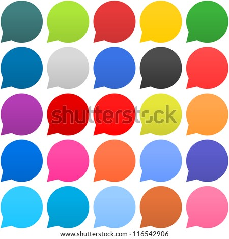25 speech bubble sign web icon. Empty buttons painted in popular colors. Circle shape on white background. Newest contemporary simple style. This vector illustration internet design element in 8 eps
