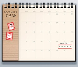 2016 Spiral Calendar Template : Vector Illustration