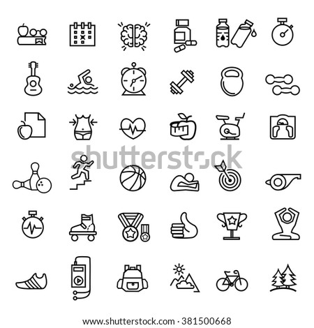 sport and fitness icons set  vector.