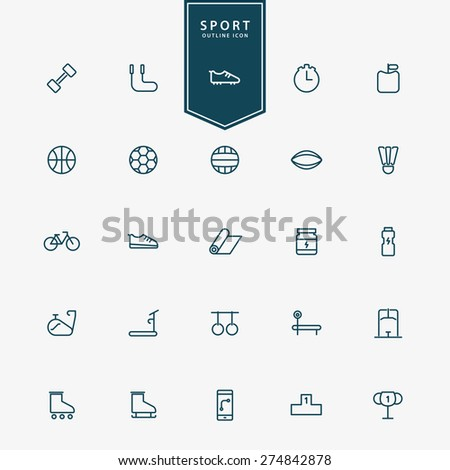 25 sport and fitness minimal line icons vector