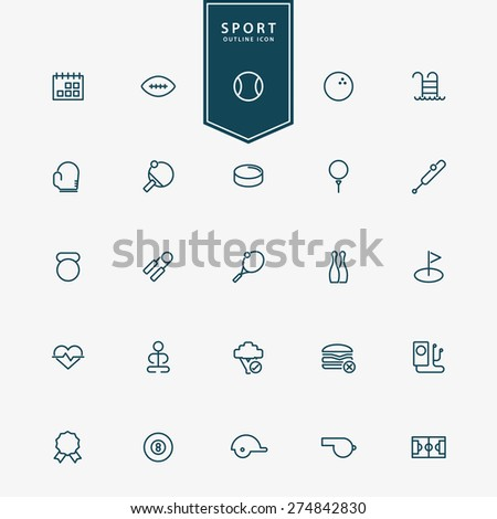 25 sport and fitness minimal outline icons vector