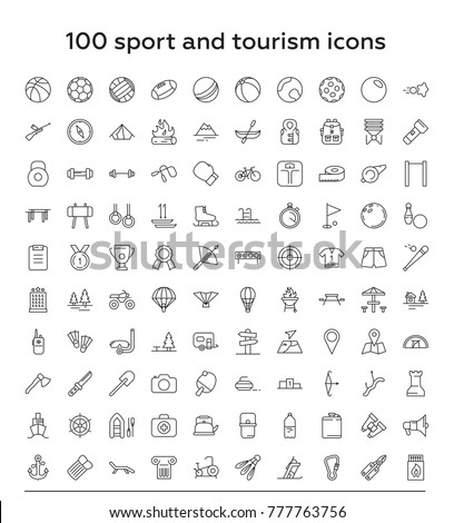 100  Sport and tourism thin line vector icon set