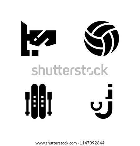 4 sport icon set with snorkel, volleyball and ski vector illustration for graphic design and web
