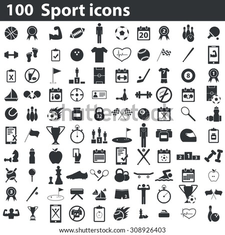 100 sport icons set. Illustration of 100 sports signs - football, baseball and hockey