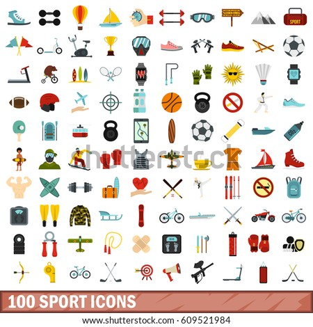 100 sport icons set in flat style. Illustration of sport icons set isolated vector for any design