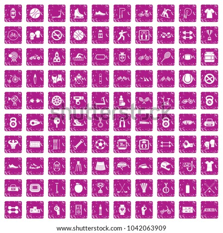 100 sport icons set in grunge style pink color isolated on white background vector illustration