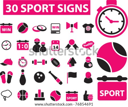 30 sport icons, signs, vector illustrations
