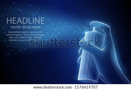 Spray can with paint in hand, on a deep blue background, a symbol of street art, graffiti of inspiration, idea, urbanization, sending information. Vector 3D polygonal illustration concept.