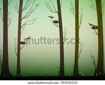 spring forest and birds with