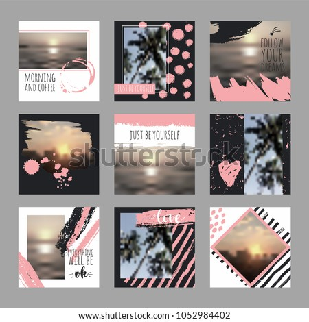 9 square layout templates for social media, mobile apps or flyer design. Social media pack. #1052984402