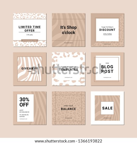 9 square layout templates with animal print patterns for social media, mobile apps or banner design.