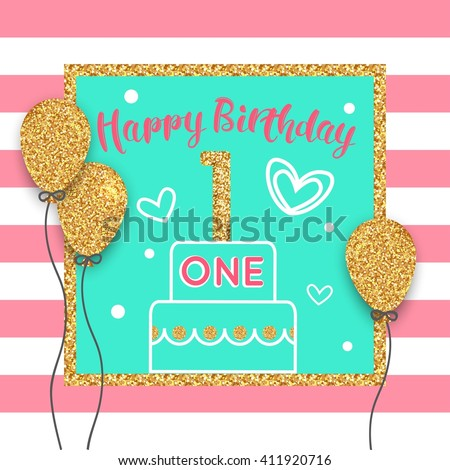 1st birthday card with gold