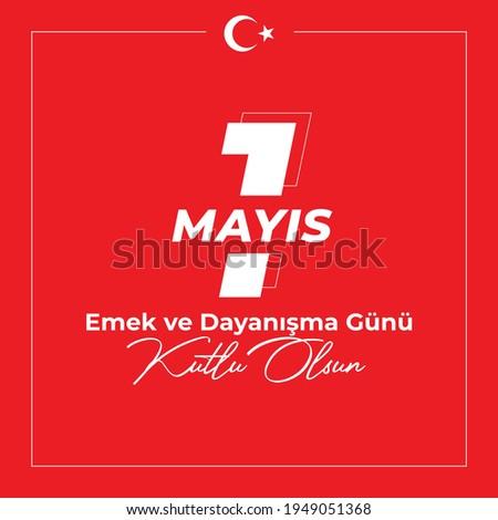 1st May labor and solidarity day. (Turkish: 1 mayis emek ve dayanisma günü, isci bayrami) Labour day celebration design for label, social media, banner.