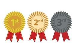 1st, 2nd, 3rd medals, first place, second, third, awarded, badge guaranteeing a winning prize. Vector