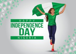 1st October Nigeria Independence Day. young girl running with Nigeria flag. vector illustration
