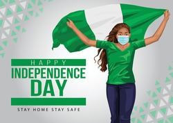 1st October Nigeria Independence Day. young girl running with Nigeria flag. vector illustration. coronavirus, covid-19 concept