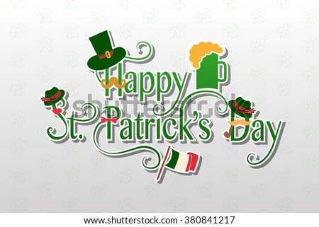 St.Patrick's Day lettering with floral wreath. St.Patrick's Day design on textured background. Lettering with objects. Hand sketched St.Patrick's Day icon. Hand drawn beer festival decoration badge #380841217