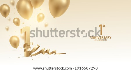 1st Year anniversary celebration background. 3D Golden numbers with bent ribbon, confetti and balloons. Stockfoto ©