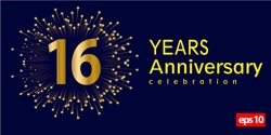 16st year anniversary celebration gold number with fireworks on blue background. vector illustration