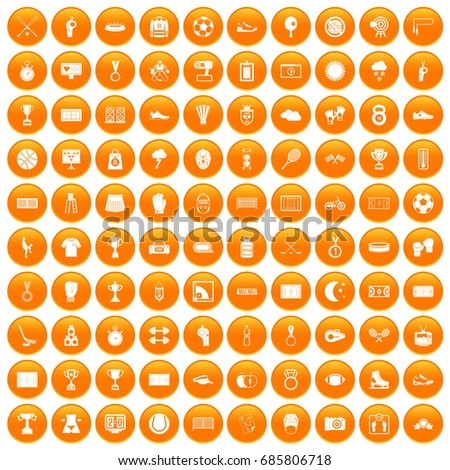 100 stadium, sports and health icons set in orange circle isolated on white vector illustration