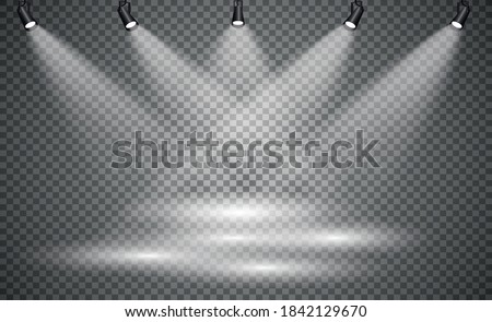 Stage lighting, on a transparent background. Bright lighting with spotlights. directional studio light.