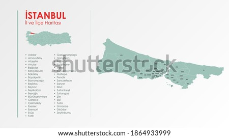 İstanbul City and Districts Illustration Vector Map  Stok fotoğraf ©