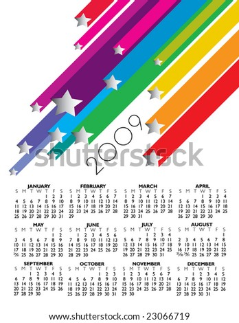 2009 star calendar in vector format