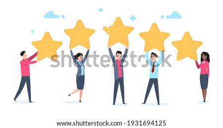 5 star rating. Flat people holding five golden stars. Social media product review, men and women vote online, customer rating quality and feedback vector cartoon concept isolated on white background
