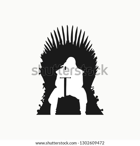 Stark sitting on the iron throne. Iron throne icon. Game of Trones icon. Vector illustration. EPS 10.