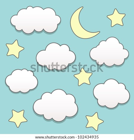 Starry night with moon and clouds