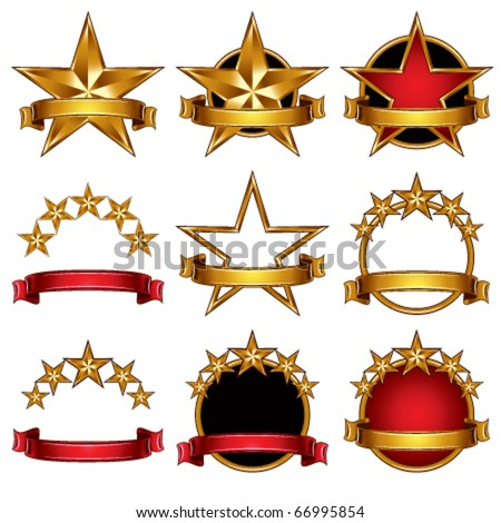 5 stars classic emblems set. Golden ribbons and stars symbols. Red and gold metallic royal style. - stock vector