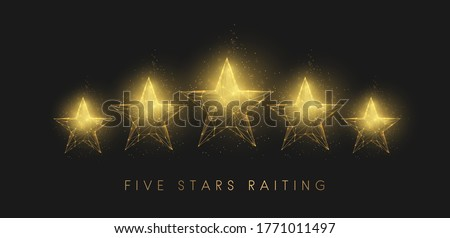 5  stars raiting. Abstract golden stars. Low poly style design. Abstract geometric background. Wireframe light connection structure. Modern 3d graphic concept. Isolated vector illustration.