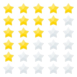 5 stars rating. Feedback and evaluation, degree of satisfaction with product or service on social network and on website. Flat vector cartoon illustration. Objects isolated on white background.